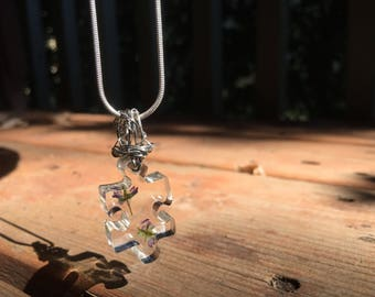 Handmade Wire-Wrapped Puzzle Peace & Love Flower Pendant Necklace