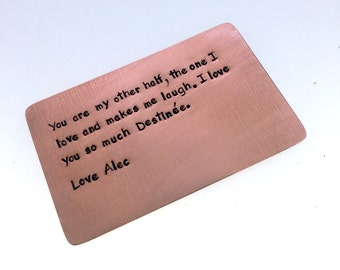 Wallet Insert Copper Card, Personalized Hand Stamped Metal, Gift Husband Boyfriend 7 Seven Year Anniversary, Boyfriend Gift