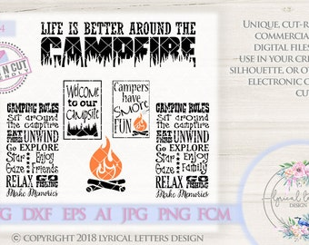 Camping SVG Camping Rules Campfire Campsite LL054 - SvG DxF Ai EpS FcM PnG JpG Vector Digital File For Cricut Silhouette & Other Cutters