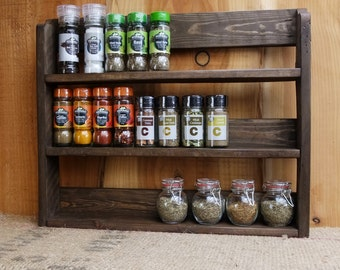 Good Large Rustic Spice Shelf / Kitchen Herb Rack / Spice Rack / Cabinet   Made  From