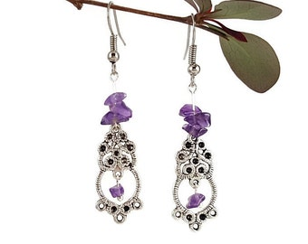 Jewelry Amethyst earrings Purple gemstone jewelry Amethyst jewelry Purple stone earrings Genuine amethyst jewelry Gemstone earrings Dryn