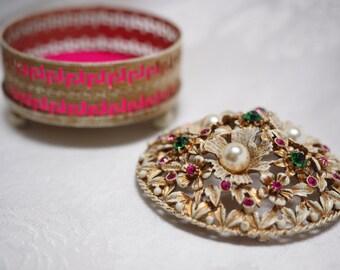 Romantic FLORENZA Rococo Ornate Jewelry / Vanity / Trinket Box- Vintage, Signed -Daughter Birthday, Sweetheart, Wedding Ring Holder Gift box
