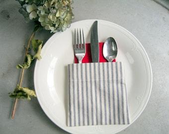 napkin holder, silverware pocket, navy blue French Ticking fabric