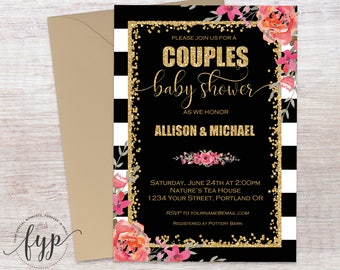 Coed Baby Shower Invitation, Couples Baby Shower Invitation, Shower The Couple Invite, Baby Shower Invites, Couples Shower, Gold Confetti