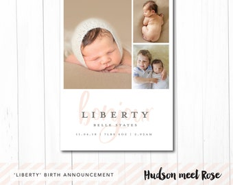 Printable - The 'Liberty' Classic Birth Announcement   Baby Thank You Card   Photo