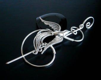Phoenix Brooch pin, Shawl Pin, Scarf Pin, Sweater Brooch, Knitting Accessories, Silver Wire pin