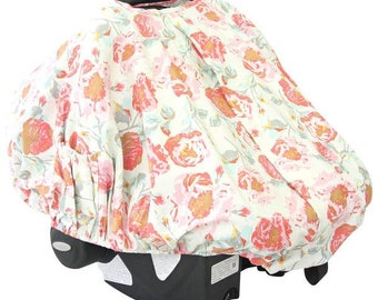 Felicity's Floral | Pink and Aqua Car Seat Canopy Cover