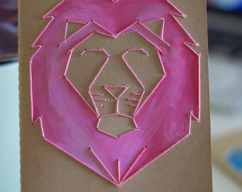 Embroidered Watercolor Lion Moleskine Journal - Blank