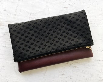 Textured Black Lace  & Maroon Faux Leather Foldover Clutch - Gift for her, Birthday, Anniversary, Bridesmaid