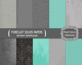 Digital Paper Pack Grays and Sky Blue Solid Paper