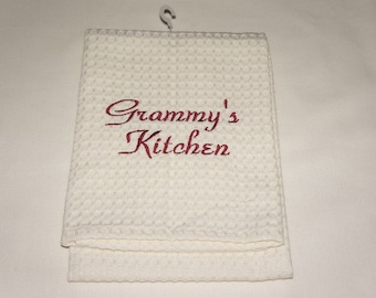 Grammy's Kitchen Towel, Waffle Weave or Linen, Embroidered