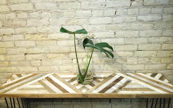 "Reclaimed Wood Table | Wood Table | Geometric Wood Table | Console Table | Sofa Table | Rustic Table | Wood Desk | Reclaimed Wood 60"" x 12"""