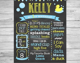 First Birthday Chalkboard Printable,  Rubber Ducky, Duck Birthday Chalkboard Sign, Duck Birthday