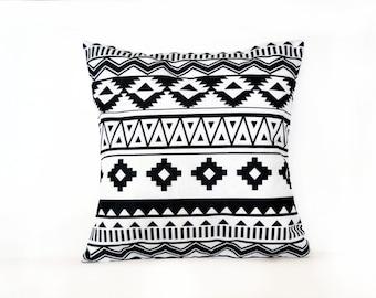 Black and White Pillow, Geometric Pillow Case, Bohemian Pillow, Boho Pillow, Throw Pillow, Patterned Pillow, Nursery Pillow, Cushion Cover