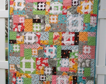 Flea Market Fancy Pixie Churn Dash Colorful Patchwork Baby Toddler Quilt