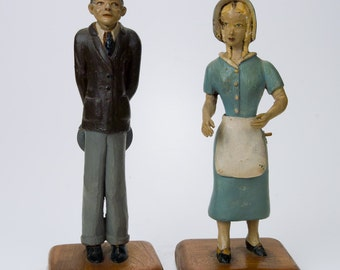 Vintage Folk Art Carved and Painted Figures of a Man and Woman