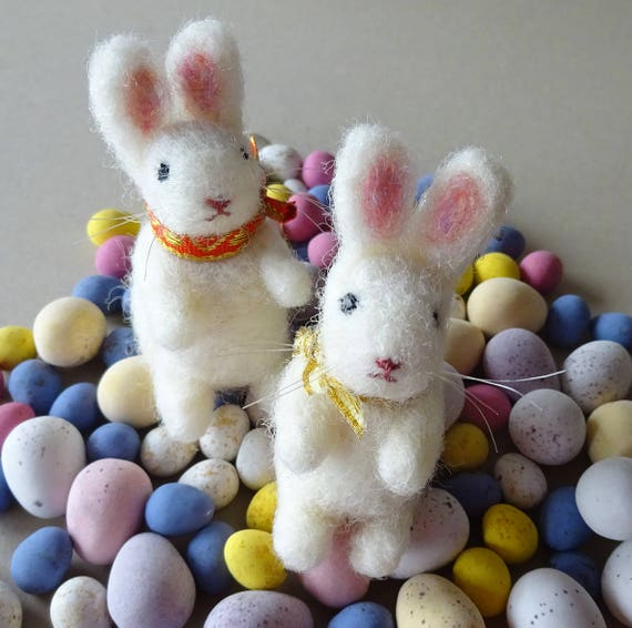 Easter decorations set of two easter bunny rabbits needle like this item negle Images