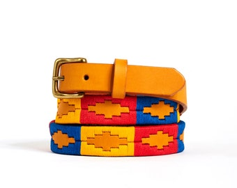 Polo belts - argentinian belt - embroidered leather belt from Argentina - leather belt for women and children - Multicolor 3 - Kamyno