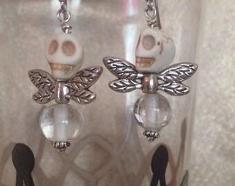 White Skull Fly Earrings