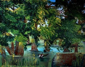 Trespassing Duck | Impasto Plein Air Oil Painting Cradled Panel