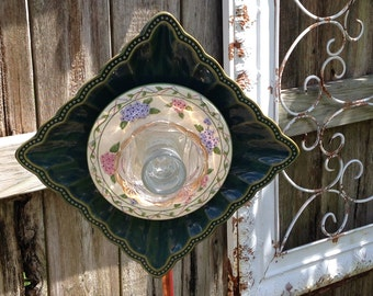 Yard Art Glass Flowers repurposed glass plates vintage flowered plate square green porcelain plate flower garden art shabby chic yard art