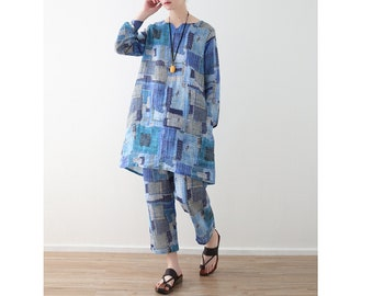 Womens Loose Fitting Retro V Neck Abstract Patterns Printed Floral Linen Blouses And Pants With Pockets,Two Pieces Set,Casual Tops And Pants