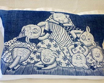 cushion cover, linocut print, pigs in blankets, blue and white print, pillow cover, decorative pillow, handprinted cushion, printmaking