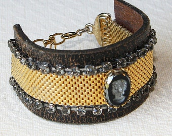 Distressed Leather  Reverse Carved Glass Cameo Vintage Gold Mesh Reclaimed Bracelet