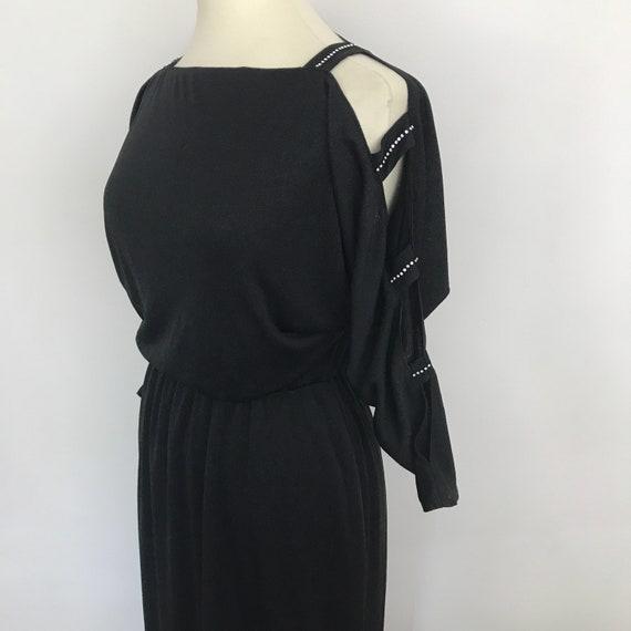 Black dress vintage dress, 1980s evening gown, split sleeves, sparkly diamante, goth glam disco batwing UK 14, elasticated waist,