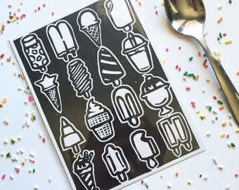 Ice Cream and Popsicles, 5 x 7 in Linocut, Open Edition, Ready to Ship