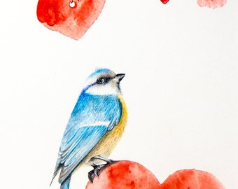 Love Bird Original Watercolor Painting by Yana Khachikyan