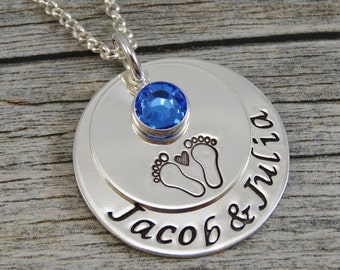 Hand Stamped Jewelry - Personalized Jewelry - New Mom Necklace - Sterling Silver Necklace - Twin Necklace - Footprints with Heart