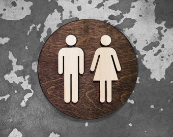 """Office Unisex Restroom Bathroom Sign - WC Signage - 6"""" or 9"""" Size - Clean Modern & Minimalist Look - Custom Finishes Available"""