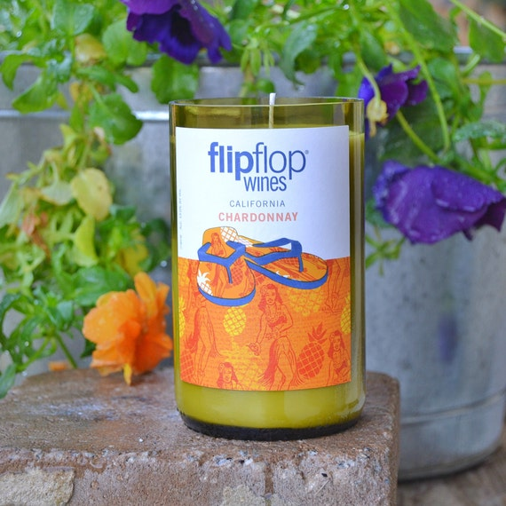 Flip Flop Chardonnay wine bottle candle made with soy wax