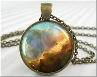 Omega Nebula Pendant, Hubble Telescope Picture, The Omega Nebula, Resin Necklace, Hubbel Picture Pendant, Round Bronze 410RB