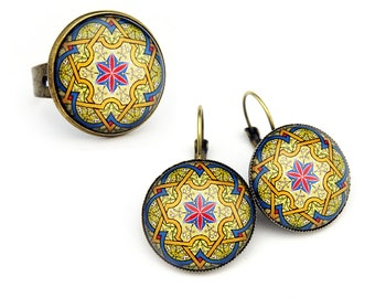 Ring or earrings. Persian arabesque. Oriental spirit jewelry. Glass Cabochon. Adjustable Ring. Freeshipping