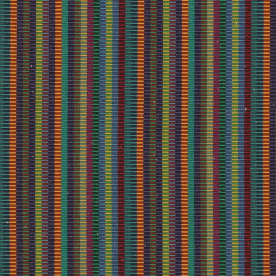 Teal Orange Stripe Upholstery Fabric Blue Green Mini Stripe