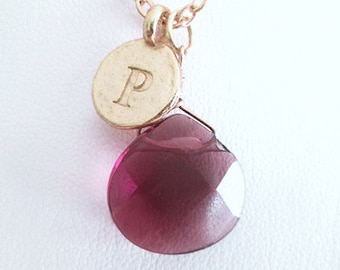 Unique necklaces for women personalized with P, gold personalized letter P pendant necklace gift for women with red stone, P charm necklace