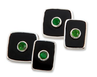 Emeralds Cufflinks On Black Onyx Sterling Silver 925