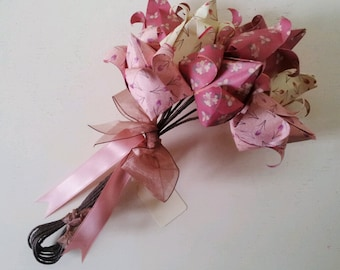 Paper Flowers Bouquet Tulip Spring Wedding Mother's Day Easter Wedding Anniversary Gift Cream Salmon Pink Burgundy