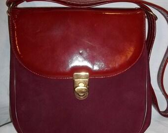 Vintage Purse 50's Lennox Purse Burgundy Hand Purse Red Leather / Suede Purse Red Purse Chic Vintage Purse Free Shipping