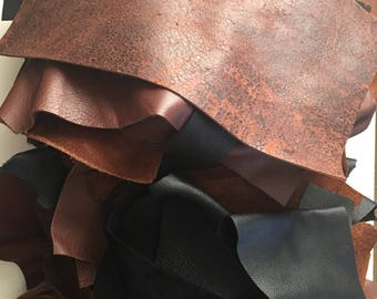Scrap leather pieces, leather remnants, leather for crafts, 2 pound random selection
