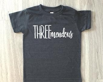 Threemendous 3rd Birthday tshirt - baby boy or girl third birthday shirt - toddler t-shirt - summer tee
