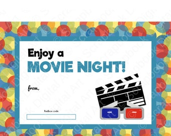 Printable redbox gift card tag printable card movie night printable redbox gift card tag printable card enjoy a movie night negle Image collections