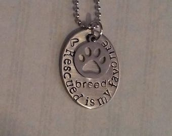 Rescued is my favorite breed stainless steel necklace pet necklace