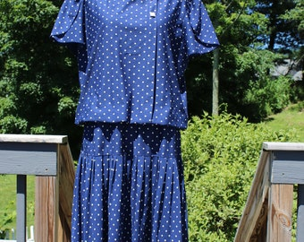 VTG 1950's Blue and White Polka Dotted Dress, Riccardo Brand