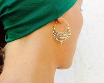 Tribal Brass Gold Hoop Earrings, Indian Brass Earrings, Tribal Hoops, Gypsy Earrings, Boho Indian Brass Gold Earrings