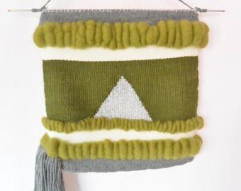 Modern woven wall hanging in wool