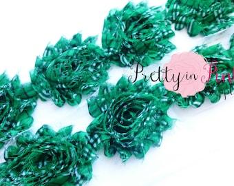 GREEN PLAID PRINT Shabby Rose Trim- Shabby Flowers- 1/2 Yard or 1 Yard- Shabby Chiffon Trim- Wholesale Shabby Flowers- Chiffon