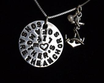 Sons are the anchors of a Mother's life necklace, Mom of boys necklace, Boy Mom necklace, Gift for mom, Mother's Day from son, Gift from son